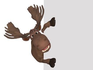 Cartoon moose with a blank board