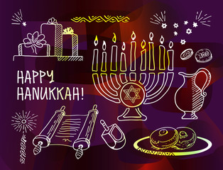Chanukah hanukkah traditional jewish holiday doodle symbols set isolated vector illustration. Hand drawn sketch set on dark colorful background