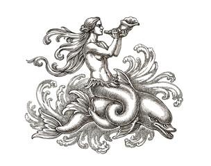 Морская богиня на дельфине, графика. Рисунок тушью.