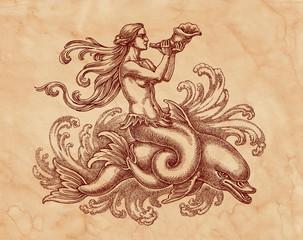 Морская богиня на дельфине, графика. Рисунок на коричневой бумаге тушью.