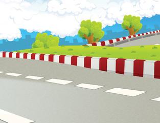 Cartoon scene - road  background - race truck