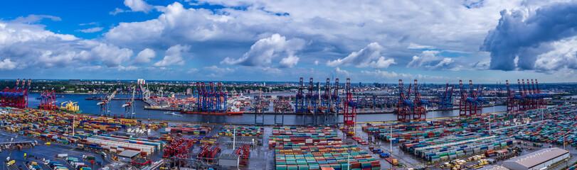 Panorama Luftbild Hafen Hamburg