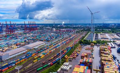 Panorama Luftbild Hafen Hamburg Container