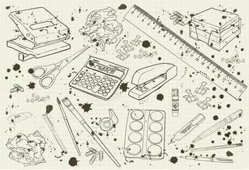 illustration stationery monochrome with splashes