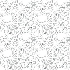 Cute hand drawn baby seamless pattern. Background in black and white colors. Monochrome texture. Vector illustration can be copied without any seams.