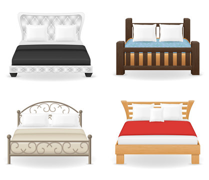 set icons furniture double bed vector illustration