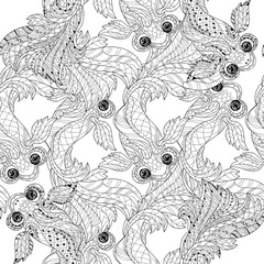 Zentangle stylized floral china fish doodle. Hand Drawn vector illustration seamless pattern. Sketch for tattoo or coloring book.