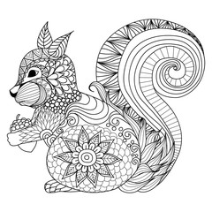 Hand drawn squirrel zentangle style for coloring book,tattoo,t shirt design,logo