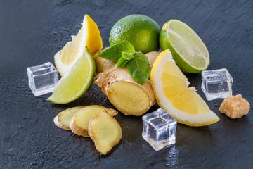 Ginger lemonade and ingredients