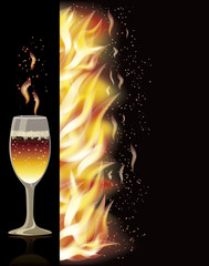 Fire flame banner with wineglass, vector illustration