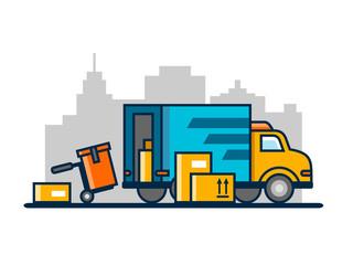 Unloading loading truck
