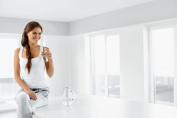 Healthy Lifestyle. Woman With Glass Of Water. Healthy Eating. Di