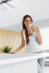 Water. Happy Woman Drinking Water. Drinks. Healthy Lifestyle. Beauty, Diet Concept.