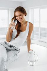 Healthy Lifestyle. Woman With Glass Of Water. Healthy Eating. Diet. Nutrition.