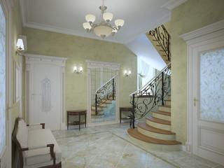 Bright corridor of luxury house