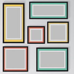 colorful frame vector on wall.