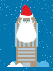 Building of Santa Claus. Skyscraper with beard and mustache. Chr