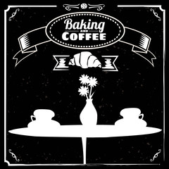 Cup of coffee, pastries, croissant, coffee, drawn in chalk on a blackboard, vintage, vector, banner, illustration