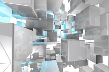 Abstract geometric cubes background  3d render
