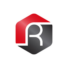 R Red And Grey Hexagonal Letter Logo Vector