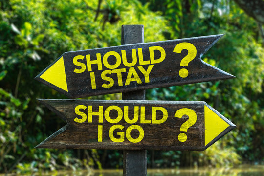 Should I Stay? Should I Go? signpost with forest background
