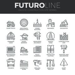 Construction Works Futuro Line Icons Set