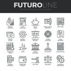 Finance and Banking Futuro Line Icons Set