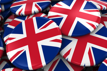 Pile of British Flag Badges - Flag of the United Kingdom Buttons piled on top of each other