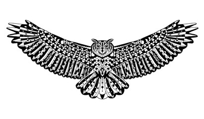 Eagle owl bird. Animals. Hand drawn doodle. Ethnic patterned vector illustration