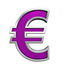 Euro sign from purple glass with chrome frame alphabet set, isolated on white. Computer generated 3D photo rendering.