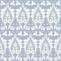 Elegant classic baroque seamless pattern. Blue and white.