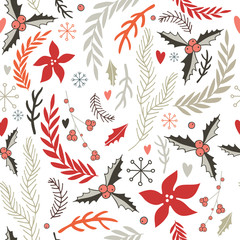 Hand drawn seamless background pattern Winter Christmas New Year style