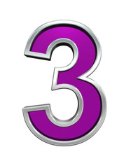 One digit from purple glass with chrome frame alphabet set, isolated on white. Computer generated 3D photo rendering.