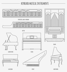 Musical instruments graphic template. Keyboard