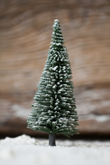 Christmas card - a miniature Christmas tree in the snow - winter