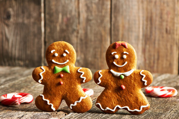 Christmas homemade gingerbread couple cookies