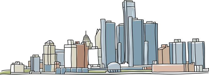 Sketch illustration of the skyline of Detroit, Michigan, USA.