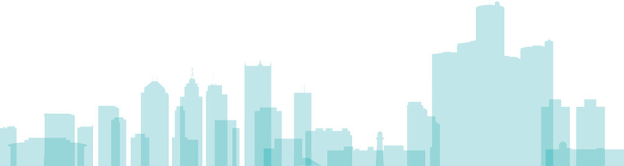 Transparent skyline silhouette of the city of Detroit, Michigan, USA.