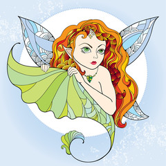 Mythological Pixie or Forest Fairy with long red hair and wings on the blue background. The series of mythological creatures
