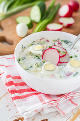 Okroshka - traditional summer cold soup