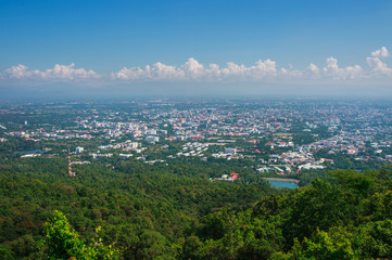 Good View of Chiang Mai city from viewpoint on Doi Suthep, Northern Thailand