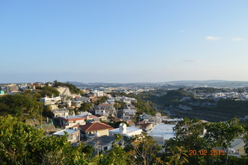 Arial view of landscape in okinawa japan