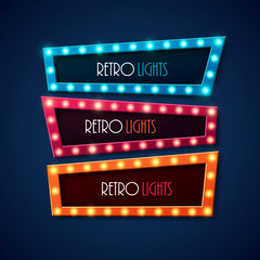 Retro banner with shining lights. Vector illustration.