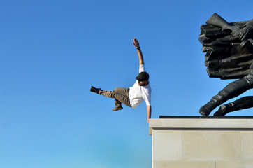 Guy jumping (Parkour)