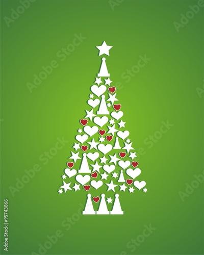 Rbol de navidad con corazones rojos sobre fondo verde for Arbol navidad verde