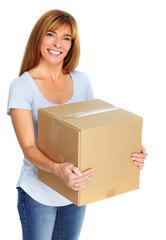 Beautiful lady with moving box.