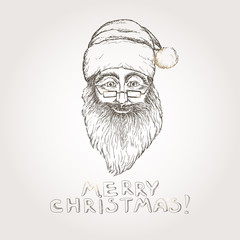 Santa Claus Christmas hand drawn sketch.