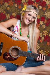 Hippie Girl Playing Guitar
