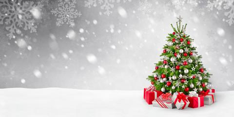 Weihnachtsbaum und Schnee Hintergrund