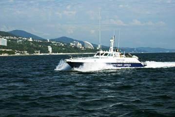 Coast Guard boat patrols the coast of Sochi